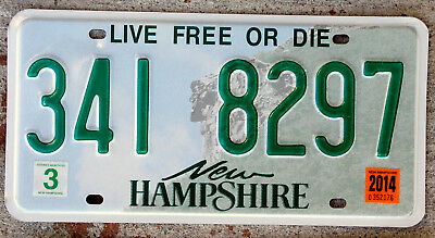 """New Hampshire """"Old Man of the Mountain"""" License Plate with a 2014 Sticker"""