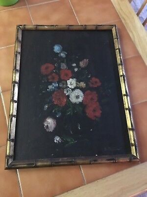 Rare Antique Original Floral Oil painting Signed Martino On Wood Board