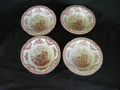 """4 Johnson Brothers Old Britain Castles Cereal Bowls 6"""" Pink"""