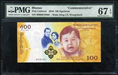 Bhutan 100 Ngultrum 2016 2018 Comm. Baby P New Superb Gem Unc Pmg 67 Epq