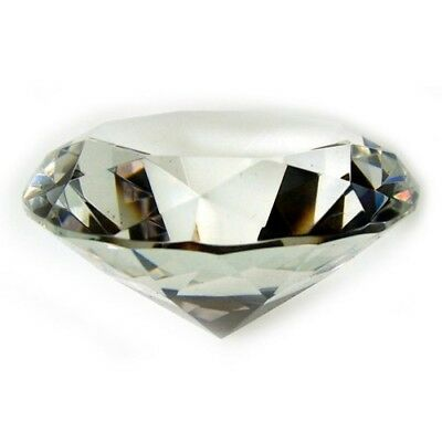 100mm Personalised Clear Cut Glass Faceted Crystal Diamond Paperweight