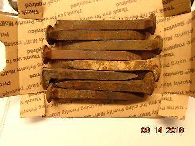 10 Old Railroad Spikes - Blacksmithing Craft Industrial Decor FREE SHIPPING