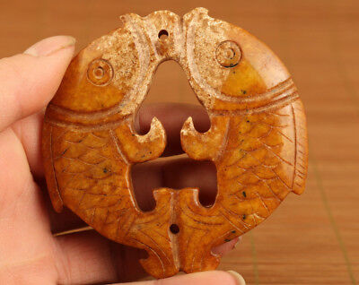unique chinese old jade hand carved fish statue pendant netsuke home deco