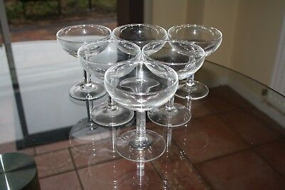 Six vintage French glass Champagne saucers excellent condition 3 day listing