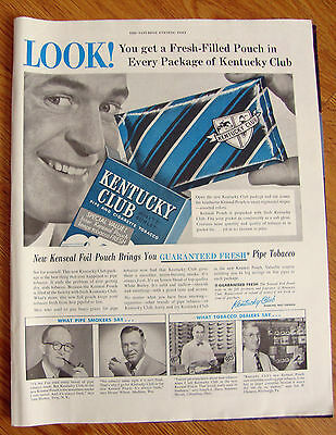 1954 Kentucky Club Pipe Tobacco Ad Hickey Wilson Zieve Clemens