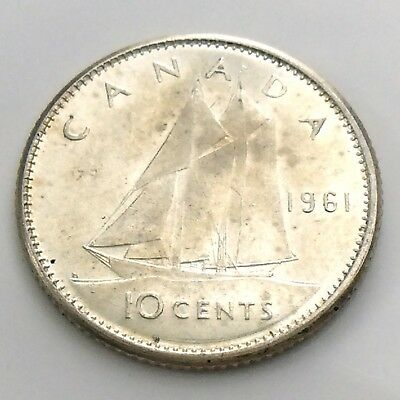 1961 Canada Ten 10 Cent Silver Dime Brilliant Uncirculated Canadian Coin I002