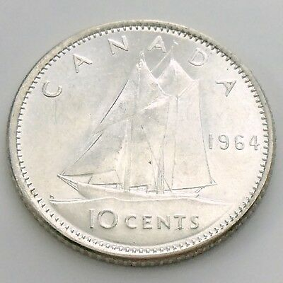 1964 Canada Ten 10 Cent Silver Dime Brilliant Uncirculated Canadian Coin I006