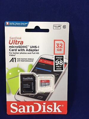 SanDisk Ultra 32gb Micro Sdhc card With Adapter Speeds 98MB/s 653x A1