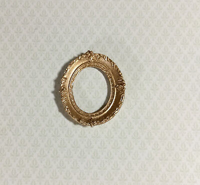 Dollhouse Miniature Ornate Oval Gold Picture Frame for Paintings 1:12 Scale
