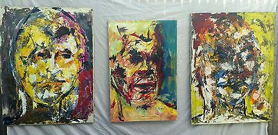 3 Modern Abstract Painting Portraits, Oil on Canvas Trilogy