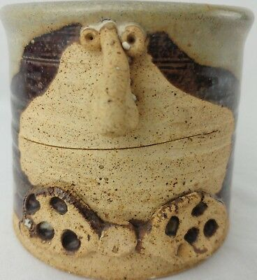 Vtg 3D Stoneware Art Pottery Hand Crafted Funny Face Mug Feet Penguin Bow Tie
