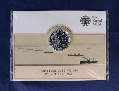 "2014 Royal Mint Silver £20 coin ""WWI Outbreak"" on Card - Sealed     (AB1/52)"