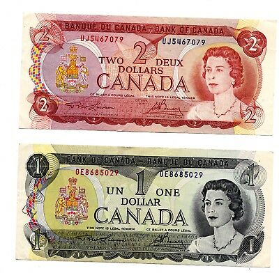 Canada $2 Two Dollar note 1974 Ottawa and a 1973 Ottawa Canada $1 dollar note
