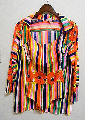 True Vintage 1950s 50s Peter pan Rainbow 2 piece bathing suit dress
