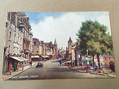 Old Postcard Of Crieff - James Square
