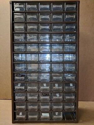 Vintage Brown 60 DRAWER Storage Cabinet Bin Steel Metal Small Tools Wall Wards