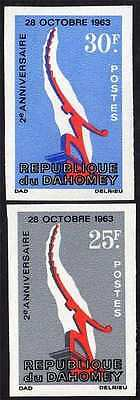 Dahomey 1965 Independence Monument Sc# 209-210 Imperf Vf Mnh Scarce