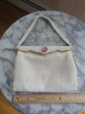 Vintage White Beaded Michels-Drew Evening Bag - Made in France