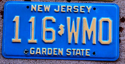 Cream on Light Blue New Jersey License Plate in Nice Condition