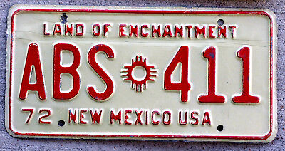 1972 Red on White New Mexico License Plate