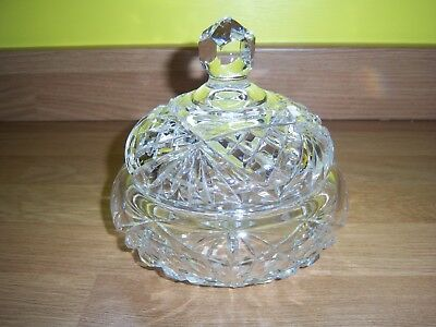 Vintage Diamond Cut Glass Trinket Bowl With Lid And Finial