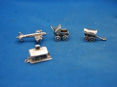 Lot of 4 Pcs Sterling Silver Charms Airplane School House Carriage Caboose Lot