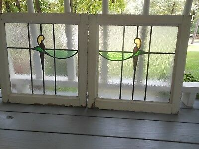 S-188A Lovely Older Pair of Stained Glass Window F/England 2 WINDOWS 1 PRICE