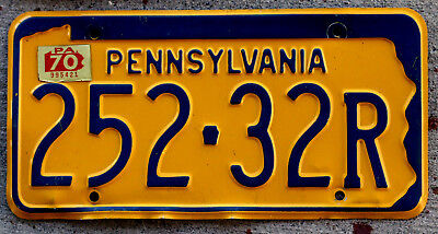 1964 Blue on Orange Pennsylvania License Plate with a 1970 Sticker