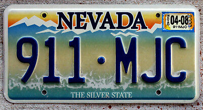 Nevada Blue Mountains License Plate Embossed Version with a 2008 Sticker
