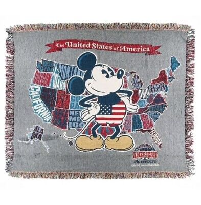 Disney Parks Mickey Mouse USA Woven Throw Tapestry Blanket NWT