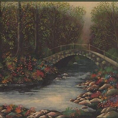Meadow Stream Flowers Stone Foot Bridge Wallpaper Border 5803310 2 Rolls 10.25""