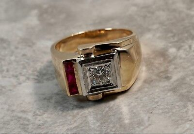 1920's Art Deco 14K Rose Gold .50ctw Diamond Ruby Square Buckle Ring
