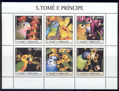 St Thomas & Prince Is.-2003 MNH sheet of birds & orchid #1488 cv 13.50 Lot #144