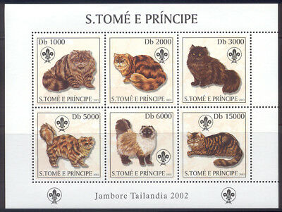 St Thomas & Prince Is.-2003 MNH sheet of catsscouting #1510 cv 9.00 Lot #152