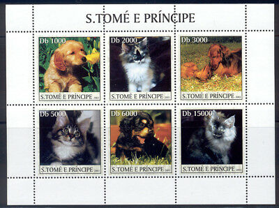 St Thomas & Prince Is-2003 MNH sheet of 6 cat & dog stamps #1520 cv $ 9 Lot #181