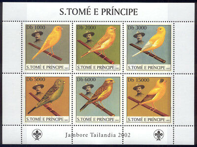 St Thomas & Prince Is-2003 MNH sheet of 6 song bird stamps #1500 cv $ 9 Lot #198
