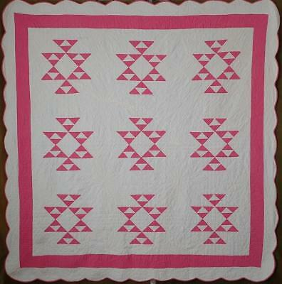 Wonderful Hand Quilting! Vintage Pink & White Cats Cradle QUILT Cottage Romance