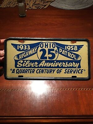 Official 1958 Ohio State HIGHWAY PATROL Police License Plate