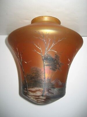 Antique Hand Painted Pendant Shade Ceiling Light Iridescent Marigold WinterScene