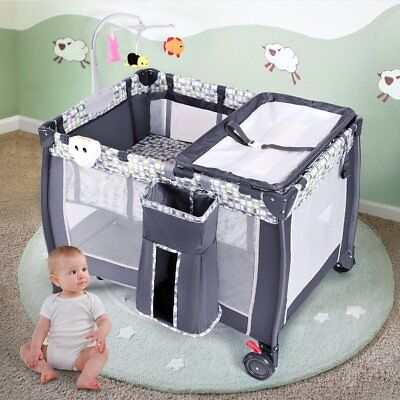 Costway Foldable Travel Baby Playpen Crib Infant Bassinet Bed Mosquito Net Music