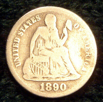 * 128 Years Old * Antique 1890 Seated Liberty Silver Dime Estate US 10 Cent Coin