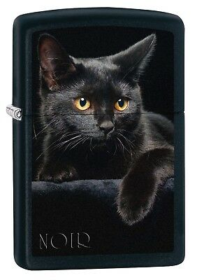 Zippo Lighter: Black Cat - Black Matte 76491