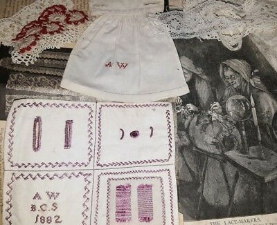 1882 Antique embroidery Sampler by A.W lacemaking lace samples of Needle Work