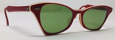 1950's or 60's Vintage Ray Ban B&L Womens Sunglasses Red & White Green Glass