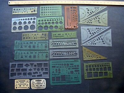 Lot of 22 Vintage Drafting Engineering & Flow Charting Templates
