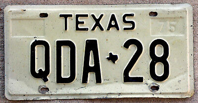 Real Classic Black on White Texas License Plate Back When They Were Embossed