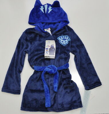 PJ Masks Toddler Boys Catboy Navy Plush Hooded Robe 4T 5T New With Tags