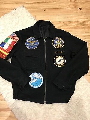 Vintage  Flight Jacket Us Military Us Navy Wool Men'S Bomber With Patches