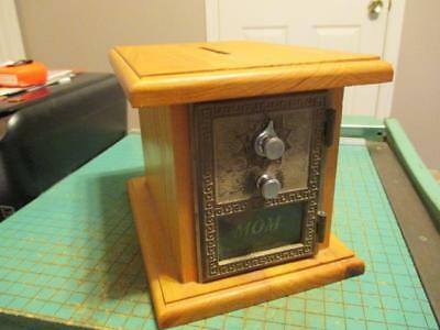 "Vintage 1962 US Post Office Combination Lock Box ""MOM"" Door Oak Coin Bank"