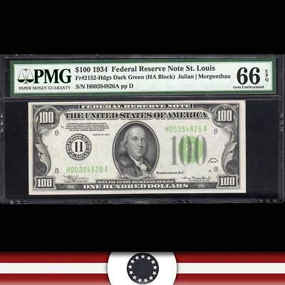 GEM 1934 $100 ST LOUIS Federal Reserve Note FRN PMG 66 EPQ Fr 2152-h H00384826A